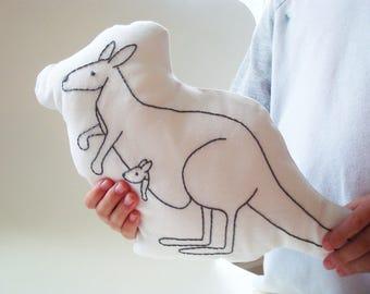 kangaroo shaped pillow, throw pillow kangaroo, plush kangaroo, hand embroidered