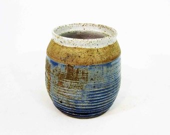 """Vintage Stoneware Pottery Vessel. Stamped """"T2"""". Circa 1960's."""
