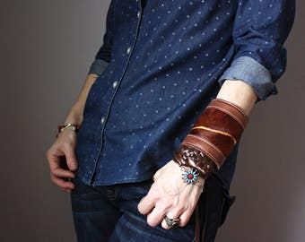 Boho leather cuff, hair on hide bracelet, handmade boho jewelry, gypsy bracelet, bohemian fashion, hippie bracelet cuff