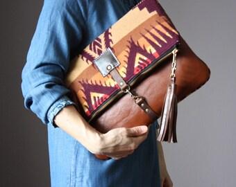 Leather purse, Bohemian leather crossbody bag, brown clutch, Festival handbag, zipper shoulder bag, unique gift for women