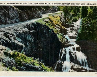 Vintage North Carolina Postcard - US Highway 64 and Cullasaja River (Unused)