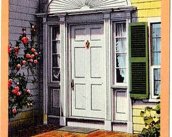 Vintage Martha's Vineyard Postcard - Doorway to the Emily Post House, Edgartown (Unused)