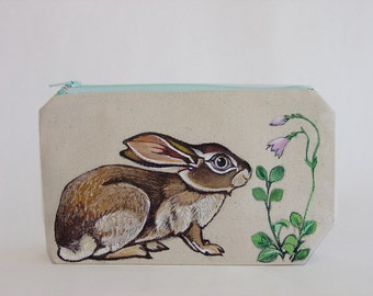 Crouching Brown Hare handpainted canvas cosmetics bag - one of a kind, handmade of recycled fabric