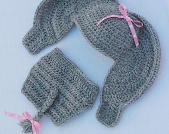 Crochet Elephant Hat And Diaper Cover – Newborn Photo Prop