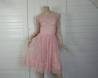 Pink Lace Prom Dress- 1950s / 50s Rockabilly Formal- Sheer Sleeves