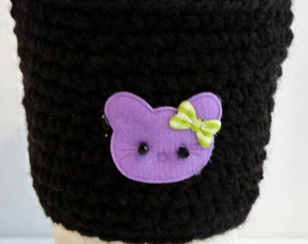 Crochet Reusable Coffee Sleeve in Black for Cat Lovers