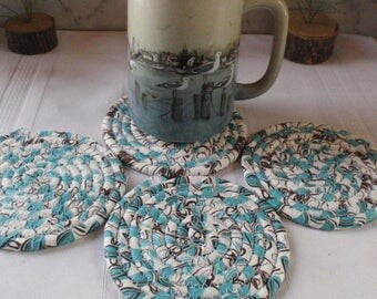 Coiled Fabric Coasters - Set of 4 - Turquoise, Chocolate Brown, Kitchen, Entertaining, Handmade by Me