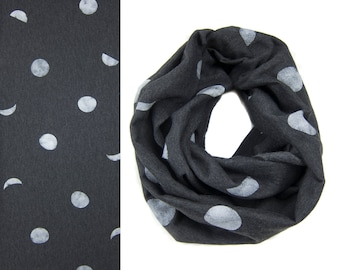 Moon Phase Infinity Scarf - Circle Scarf/Cowl Scarf/Hoodie Scarf/Fleece Scarf/Moon Scarf/Loop Scarf/Heather Black Scarf/Glow in the Dark Q