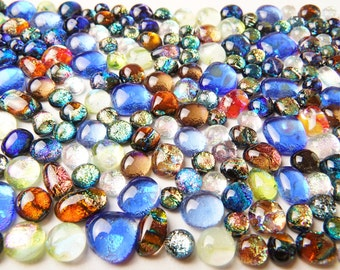 Lot of 180 Dichroic Fused Glass Beads Cabs Cabochons