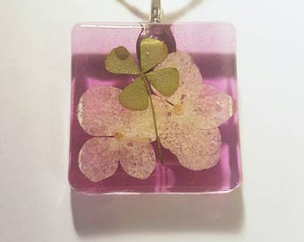 Real Four Leaf Clover Resin  Nature Necklace Pendant Bohemian Jewelry 4 Leaf Lucky  Green Purple