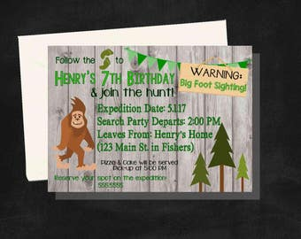 DIGITAL Big Foot or Sasquatch Rustic Wood Birthday Boy Party Invitation
