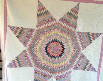 Antique Lone Star Quilt Purple lavender Border Feed Sack Fabric 78x80""
