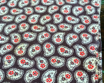 Vintage Feedsack fabric Brown Paisley With Red Flowers