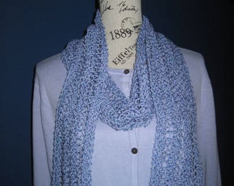 Hand Knit Scarf Lavender Tweed Cotton Blend 4 X 74 Lacy Lightweight Scarf Free US Shipping