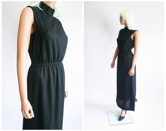 Ribbed Knit Mock Maxi Dress 70s Cocktail Gown 1970s Black Hostess Party Evening Dress Hippie Boho Sleeveless Minimalist Soft Goth Medium