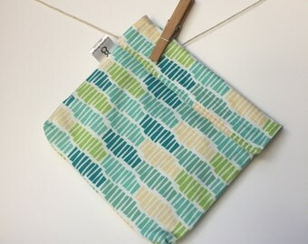 Reusable eco friendly washable Sandwich - yellow green turquoise stripes