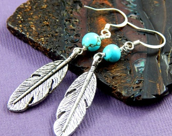 Feather Earrings, Silver Feather And Turquoise Earrings, Charm Earrings, Boho, Native American