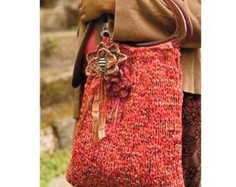 INSTANT DOWNLOAD PDF Knitting Pattern  Easy Bag and Flower Corsage Pattern  Sari Ribbon Yarn  Handbag Evening Bag