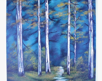 "Bob Ross Style Oil Painting Green Blue Deep Woods Forest Foliage Wilderness Landscape, ""Silent Forest"" 16 x 20 Stretched Canvas"