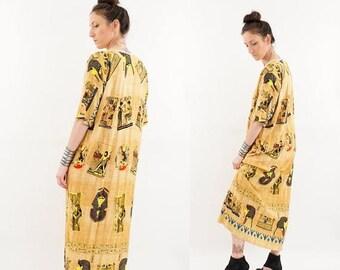 SPRING SALE vintage 90s gold EGYPTIAN print Boho maxi dress S-M