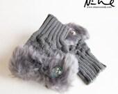 NEW YEAR CLEARANCE New Green Iridescent Rainbow Czech Glass Thistle Button Grey Faux Fur Fingerless Knit Mittens