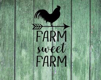 Farm Sweet Farm - Vinyl Decal - Farm Fresh - Sticker - Decals - Home Decor - Decor - Farm - Wall Sticker - Rooster - Chicken