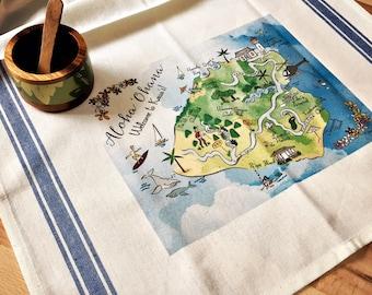 Kaua'i Map Kitchen/Tea Towel