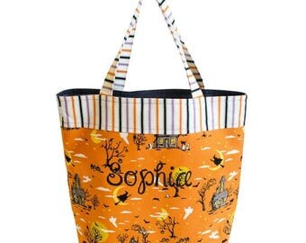 CLEARANCE SALE Personalized Trick or Treat Bag Halloween Bag Candy Bag Halloween Tote Bag Halloween Bucket Halloween Treat Bag | HL0002