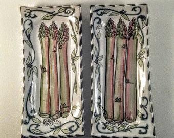 Pottery - Tray Asparagus Majolica ceramic