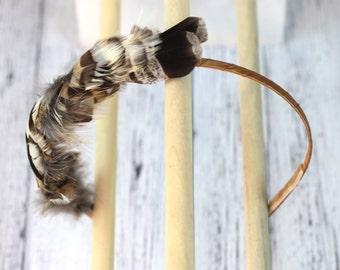 Natural wild feather hair band. Tan, brown, ivory, chestnut, warm grey gray. Woodland fairy headband. Boho fascinator. hb019