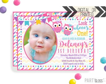 Owl Birthday Invitation | Digital or Printed |  Owl Party | Owl Invite |  Girly Owl Invite | Girly Owl Invitation | Owl Themed Party