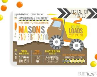 Construction Birthday Invitation   Digital or Printed   Dump Truck Invitation   Truck Invite   Construction Invite   Dump Truck Party
