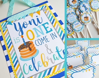 Pancakes and Pajamas Birthday Party Decorations Fully Assembled | Breakfast Party | Pancakes Party | Boy Pancakes Party | Blue Yellow