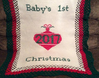 Baby's 1st Christmas Crochet Afghan Blanket Throw ~~~~ Beautiful ~~~~