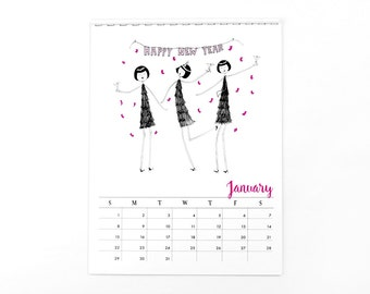 2017 Wall Calendar // 1920s flapper doodle colorful calendar
