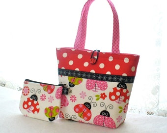 Little Girls Purse Coin Purse Set Ladybug Fabric Mini Tote Bag Childs Purse Kids Bag Pink Red Polka Dot Handmade MTO