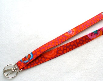 Kaffe Fassett Fabric Lanyard Breakaway Lanyard Designer ID Badge Holder Clip Key Ring Fob Guinea Flower Orange Red Blue Pink Floral MTO