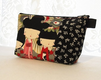 Kaori Kokeshi Dolls Fabric Large Cosmetic Bag Zipper Pouch Padded Makeup Bag Zip Pouch Alexander Henry Cute Japanese Geisha Kawaii Red Olive