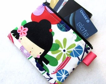 Kaori Kokeshi Womens Credit Card Case Zippered Coin Purse Wallet Business Card Holder Japanese Doll Fabric Alexander Henry Pink Purple Lime
