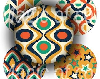 Retro Patterns   - 63  1 Inch Circle JPG images - Digital  Collage Sheet