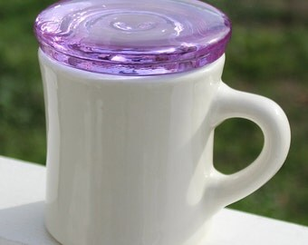 Valentines Day Gift Mug Lid Lavender Coffee Cup Cover Recycled Eco friendly Glass Tea Lovers Gift