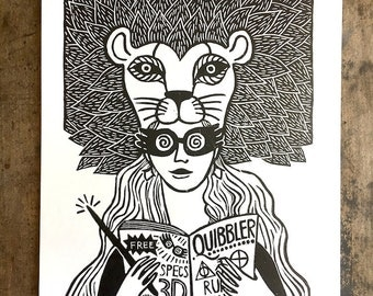 Luna Lovegood   Harry Potter Fan Art Print on Paper