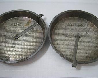 "2 Vintage Ovenex Waffle Bakeware Round Cake Pans with Sliders 8"""""
