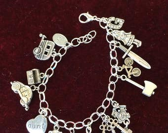 Grimm, charm bracelet, silver plated, pewter charms  G-17