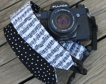 Monogramming Included Camera Strap for DSL Camera Sheet Music Print with Polka dot Reverse