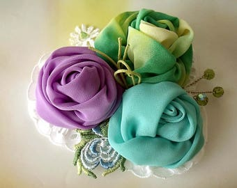 Boho corsage, Fabric Brooch, Flower brooch, Bridal corsage, Fascinator, Boho wedding, Chiffon brooch, Pin fabric brooch, Chiffon flowers
