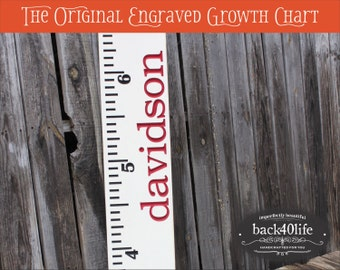 """SALE!! Engraved wood ruler growth height chart (The Davidson) - premium engraved lettering 60"""" (GC-60D) children kid baby nursery"""