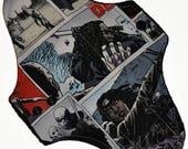 Moderate Hemp Core- Walking Dead Comic Reusable Cloth Maxi Pad- WindPro Fleece- 10 Inches (25.5 cm)