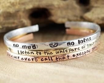 Bracelet Set of 3 or 6, Set of Skinny Cuff Bracelet, Yoga Inspired Bracelet, Personalized Cuff Bracelet, Stacking Bracelet Set of three