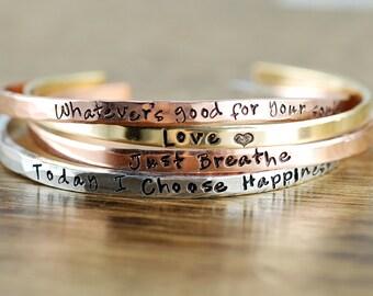 Mantra Band Bracelet, Set of Skinny Cuff Bracelet, Yoga Inspired Bracelet, Personalized Cuff Bracelet, Inspirational Cuff Bracelets